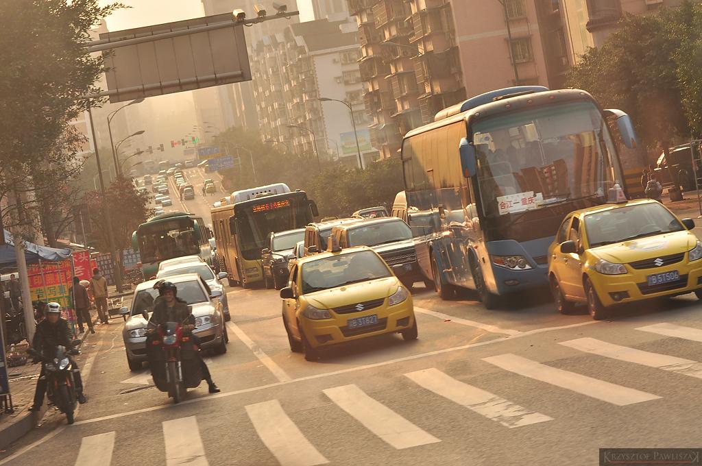 Centrum Chonqing w godzinach późnopopołudniowych