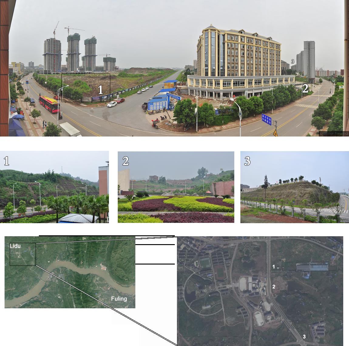 Zestawienie zdjęć terenów sprzed bramy Wschodniej kampusy YZNU z 2009 i 2014 roku.